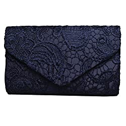 SUMAJU Lace Envelope Clutch, Womens Floral Lace Envelope Clutch Purses, Elegant Handbags For Parties and Wedding Occasions Blue
