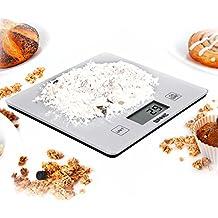 Duronic KS1080 Báscula Cocina Digital 5 Kg Balanza Cocina Peso Superficie de Cristal Cuadrada