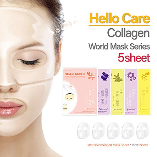 hellocare-5pcs-intensive-collagen-treatment-facial-mask-sheets-x-5-types-pack-of-5-s-korea-mixed-blu
