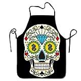Not afraid Unisex Sugar Skull Lock Edge Waterproof Durable String Adjustable Easy Care Cooking Apron Hen Apron For Women Men Chef