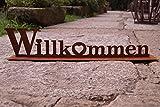 Dekostüberl Edelrost Aufsteller Willkommen mit Herz auf Bodenplatte 60 cm Schriftzug, inkl. 2 Herzen 8x6cm