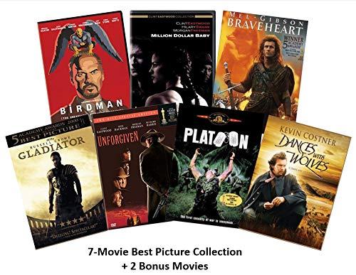 Ultimate Academy Award Best Picture 7-Film DVD Collection: Braveheart / Gladiator / Unforgiven / Platoon / Birdman / Dances with Wolves / Million Dollar Baby + 2 Bonus Movies (Hercules & Windtalkers)