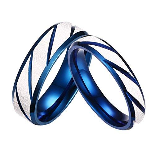 Ringe Versprechen Männlich Billig (PAURO Edelstahl Paare Frauen blaues und weißes Versprechen Hochzeits Ring Größe 52)