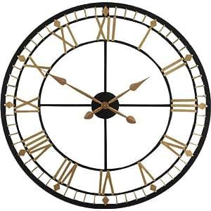 Stunning Extra Large 80cm Black Bronze Metal Wall Clock