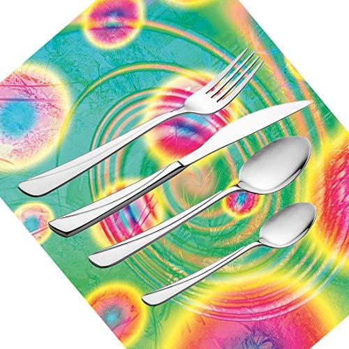 30-teiliges Besteckset, Psychedelic Outer Space-Motiv Retro Verträumtes Bild Hippie-Stil Spiegelbild im Wasser Dizzy Spell-Geschirr Besteckset aus Edelstahl für 6 Personen, einschließlich Kn (Dekor Space Outer)