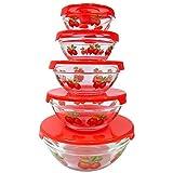 10Glas Lunch Schalen Gesunde Frischhaltedosen-Set, stapelbar, Mikrowelle und spülmaschinenfest Frischhaltedosen-Set, Apple Design (rot)