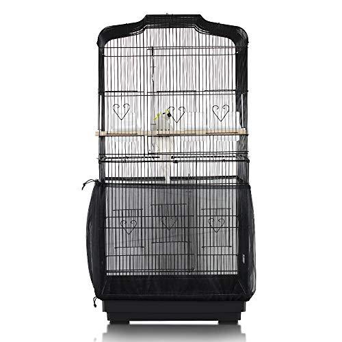 ASOCEA Vogelkäfig, Vogelkäfig, Vogelkäfig, Netzstoff, Netz, Abdeckung für Vogelkäfig, Nylon, Größe XL, Schwarz