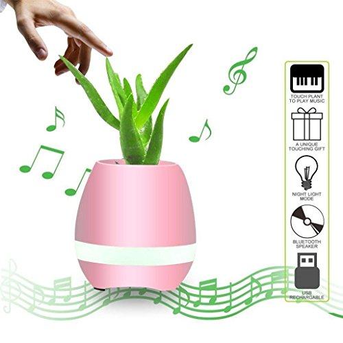 CC * CD Musik-Blumentopf Smart Finger Touch Bluetooth Lautsprecher für Pflanzgefäß Home Office Decor (Pink)