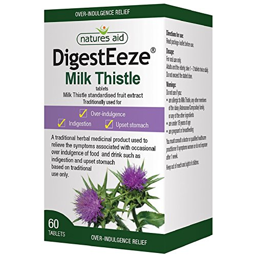 Natures Aid DigestEeze Milk Thistle, 60 Tablets (Relief of Over-Indulgence, Indigestion and Upset Stomach, Equivalent to 2750-6600 mg Milk Thistle, Made in the UK, Vegan Society Approved) Test