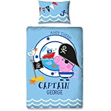 Peppa Pig George Pirata Panel Print Juego de funda nórdica, polyester-cotton, multicolor, Single
