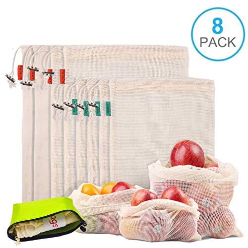 Smart Nice 8pcs Bolsas de Compras Reutilizables de Futas y Verduras,Lavable Hechas de Algodón Orgánico, Bolsas de Malla Beige Transpirable Ecológicas (4×M,4×S)