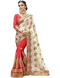 Panash Trends Women's Brasso Half & Half Saree (UJJ.K685_Off White Color)