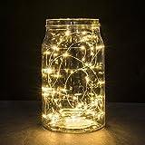 Luces en cuerda, Ryham 9.8 pies / 3M los 30LEDs mini fiesta de Navidad decorativo cadena luces estrellada de alambre para la boda vacacional Pub Club, 3xAA baterías Powered,Blanco cálido