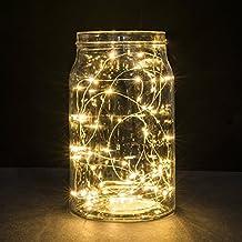 Luci stringa, Ryham 50 LED 5M 16.4ft nozze lampada Wire Rope Natale luci a pile di filo di rame lungo per la casa camera da letto del partito Albero, bianco caldo