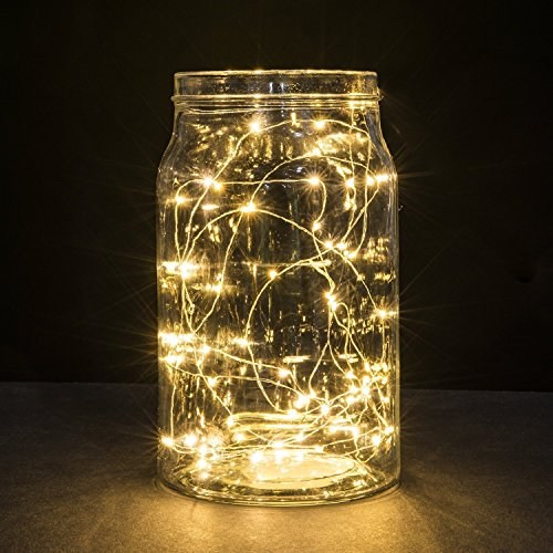 Luces en cuerda, Ryham 16.4 pies / 5M 50 mini fiesta de Navidad decorativo LED luces de la secuencia estrellada de alambre para la boda vacacional Pub Club, 3xAA baterías Powered,Blanco cálido