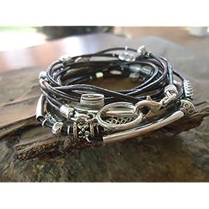✿ TAUSEND SPACER ✿ zwölffaches Leder Wickelarmband