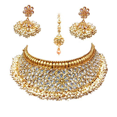 Wedding necklace set buy wedding necklace set online at best prices sitashi 18 k gold plated antique rajwadi fashionimitation jewellery stone choker necklace set for girls and women for wedding and festivals white junglespirit Gallery
