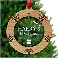 PERSONALISED Baby's First Christmas Bauble - Tree Decoration Wooden Ornament - Custom Babies 1st Xmas Keepsake - Cherry Veneer and Acrylic Christmas Tree Ornament - Keepsake Christmas Gifts Presents