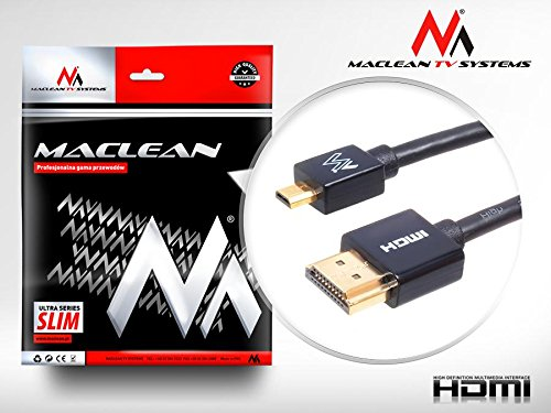 Maclean MCTV-720 Kabel HDMI - microHDMI v1.4 Audio Video Ethernet vergoldet FullHD SLIM Kabel 3D Full HD Micro Hochgeschwindigkeits 0,5m 1m 2m 3m (0.5m) Ethernet-video-hd Audio