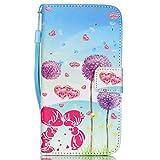ISAKEN Galaxy S5 Mini Hülle, Folio PU Leder Flip Cover Geldbörse Ledertasche Handyhülle Tasche Case Schutzhülle mit Handschlaufe Standfunktion für Samsung Galaxy S5 Mini - Löwenzahn Kinder