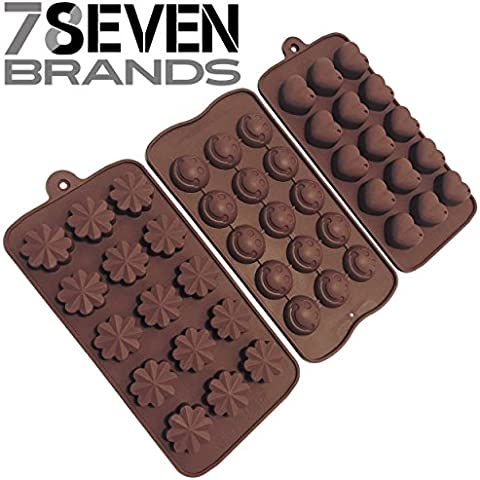 78Seven Silicone Molds 3 SET of Candy, Chocolate, Jello Silicone Molds.Flowers, Hearts, Smiley Face. Use as Ice Molds, Candy Molds, Chocolate Molds, Silicone Molds, Soap Molds Great Gift. Get It NOW! by 78 Seven