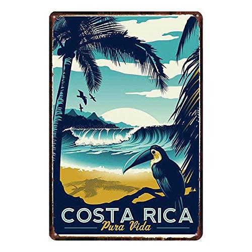 HiSign Costa Rica Zinn Wand Zeichen Retro Eisenmalerei Weinlese-Metallplakette Deko-Poster zum Zuhause Yard Straße Geschäft Bar Cafe