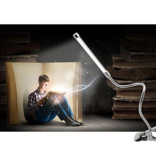 BAODE LED Tischlampe Flexbible Kaltweiß Leselampe Klemmleuchten 2-Stufen Einstellbar Dimmbare Klappbare Schreibtischlampe [Energieklasse A++]