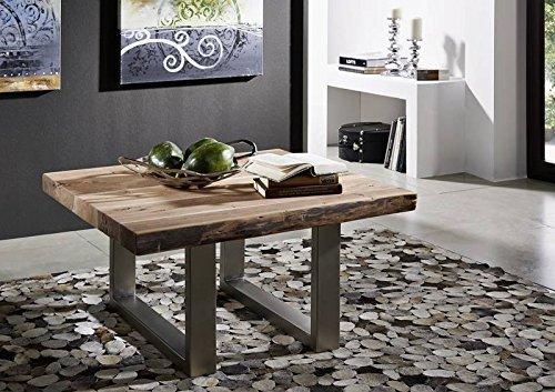 Table basse carrée 90x90cm - Fer et Bois massif d'acacia laqué (Natural Stone) - FREEFORM #122