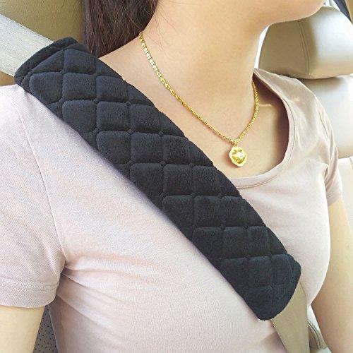 MIKAFEN Premium Gurtpolster im Zweierpack, Polsterung für Sitzgurt im Auto für mehr Komfort auf der Reise(Schwarz) -