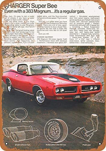 Rebecca Simpson 9 x 12 Metal Sign - 1971 Dodge Charger Super Bee 383 Magnum - Vintage Look