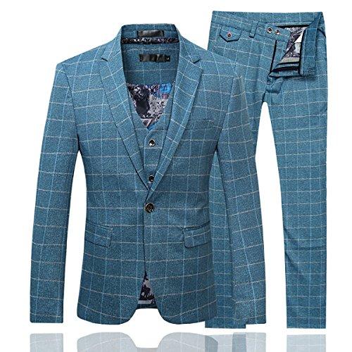 Cloudstyle Herren anzug plaid moderne fit 3-teilig anzug-center vent-blazer-jacken tux weste und hosen mittel blau