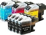 10 kompatible YouPrint Patronen für Brother DCPJ4110DW MFCJ4410DW MFCJ4510DW MFCJ4610DW MFCJ4710DW ersetzten LC127BK XL, LC125C XL, LC125M XL und LC125Y XL