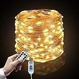 Vegkey LED Lichterkette Warmweiß, 10m 100 LED Lichter mit 8 mit USB, LEDs Lichterketten Mit IR Fernbedienung Weihnachten Wasserdichte Dekoration für Hochzeit, Party oder Halloween.