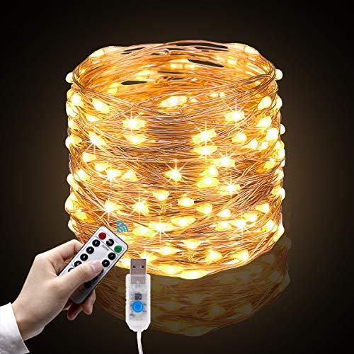 Cadena de Luces, 10m 100 LEDs Guirnalda de Luces con 8 Modos, Blanco Cálido con Control Remoto y USB...