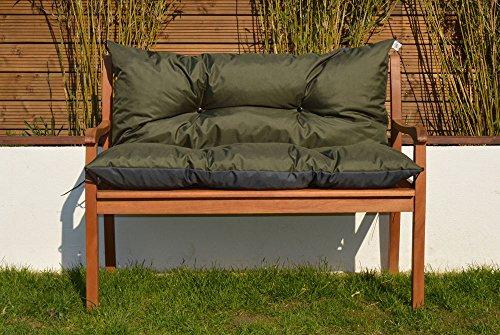 Cristal Gartenbankauflage Bankauflage Sitzpolster Bankkissen Sitzkissen und Rückenkissen Polsterauflage leicht zu reinigen 120 cm (Khaki)