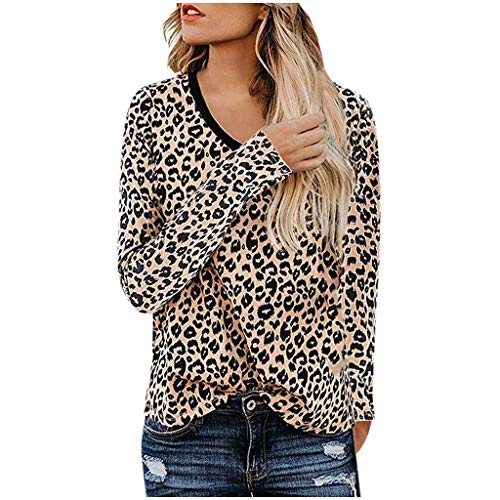 TOPSELD Frauen-beiläufiges Leopard-Drucken-langes Hülsen-Trägershirt-T-Shirt-Blusen-Sweatshirt