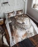 Gaveno Cavailia Premium Colleciton 3D Wolf Set mit Bettbezug und Kissen Fall Multi, Polyester-, Mehrfarbig, Doppel