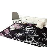 GHGMM Tappetino Carpet,Tappeto Soggiorno Nordic Minimalista tavolino Geometrico Tappeto può Essere Personalizzato Tappeto Camera da Letto Comodino Completo,BlackA,100 * 150CM