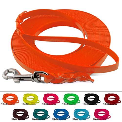 LENNIE Leichte BioThane Schleppleine, 9mm, Hunde 5-15kg, 15m lang, mit Handschlaufe, Neon-Orange, geflochten