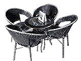 #9: Wicker HUB GC01 Outdoor Set 4 Chair 1 Table Black/White Mix