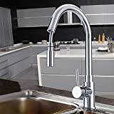 Homdox Kitchen Single Handle Taps Pullout Spray Faucets Bathroom Basin Sink Mixer Taps, Chrome