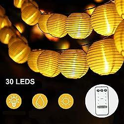 Lampion Lichterkette Außen, Led Lichterkette mit Fernbedienung/Batterie und Timer, 30LEDs 4,8m Warmweiß Lichterkette Lampions Wasserdichte Laterne Beleuchtung Outdoor für Party Balkon Garten