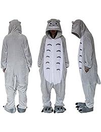 Mono de forro polar, unisex, para disfraz, Cosplay o pijama, adecuado para exteriores, con capucha, diseño de Totoro, azul, M (height 159-168cm)