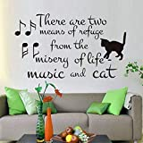 There are Two Means of Refuge Sayings Wall Sticker Music and Cat Wall Decals Music Notes Art Words Vinyl Removable 59x101cm