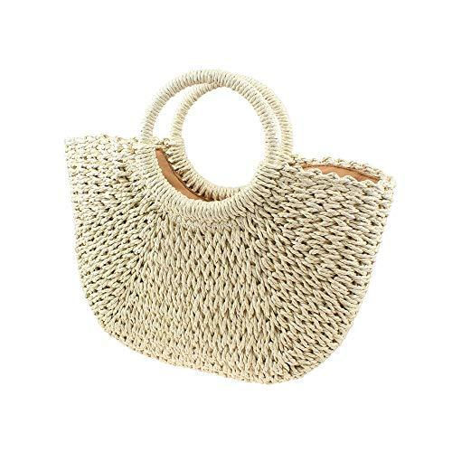 Damen Stroh-Handtasche Sommer Retro Klassische Top Griff Tasche Durable Strand Straw Tote Bag Gr. One size, beige -