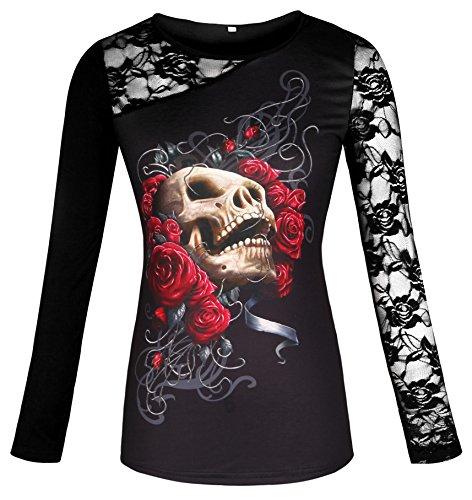 ELFIN® Gothic Longarmshirt - Rose Skull Netz Shirt Tops Longsleeve