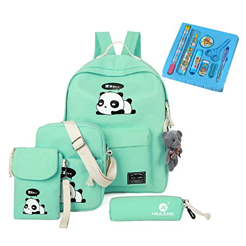 Cute Backpack School Bags Set for Teens Girls, Casual Daypack + 2 pcs Shoulder Bag + Pencil Case + stationery gifts (Green)
