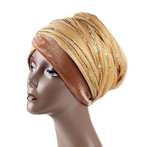 Diadia Frauen Indien Afrika Muslim Stretch Turban Hut Gaze Haar Kopf Schal Wrap Cap (Gold)