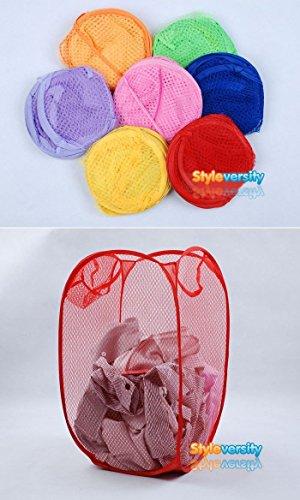 St@llion Laundry Bag Pop Up Mesh Foldable Basket Bin Hample Storage Bag Random Color (Pack of 2)