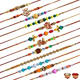 RGUC Metal & Wooden Rakhi 12 Rakhi Set for Brother | Rakhi for Men | Rakhi for bhaiya bhabhi |Rakhi Gift Set